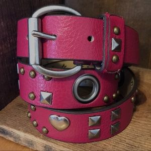 Accessories - Pink Heart Belt 34""
